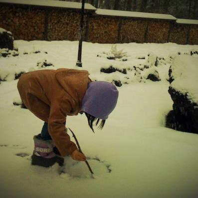 雪にお絵描き